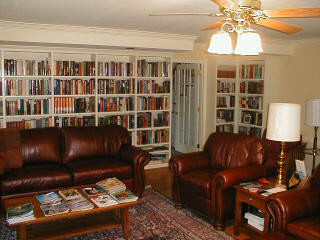Custom bookcases, hardwood floors