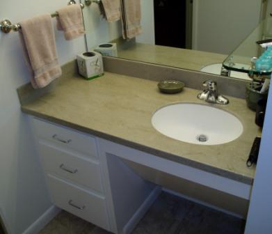 custom vanity with corian counter